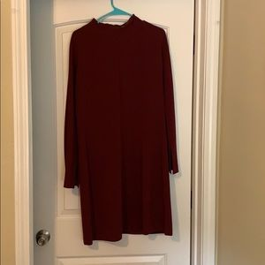 Theory Deep Red Mock-Neck dress